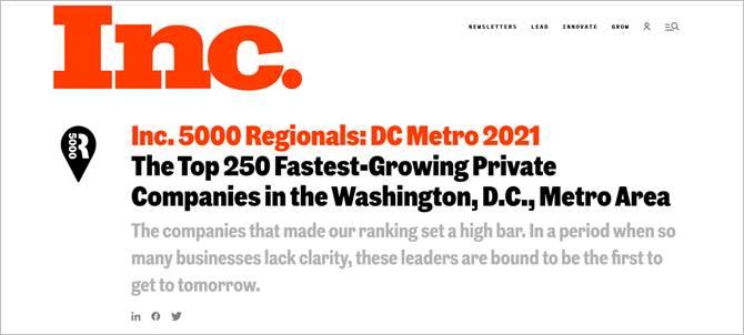Inc. 5000 Regionals List - DC Metro 2021